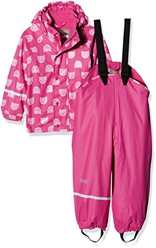 CareTec Kinder wasserdichte Regenlatzhose und -jacke im Set (verschiedene Farben), Rosa (Real Pink 546), 98