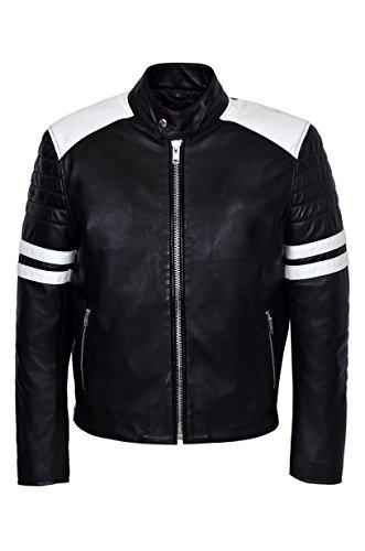 Smart Range - Mayhem avec Blanc Bande Biker Style Fight Club Cuir Veste - Homme - Taille : 2XL - Couleur : Noir