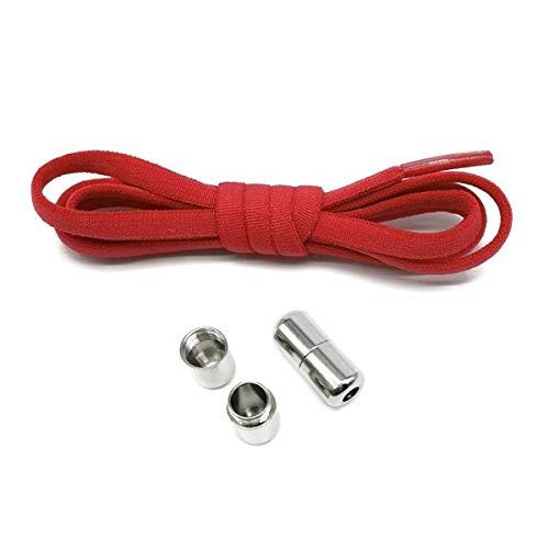 Elastische geen veters strikken Semicircle Schoenveters Sneakers schoenveter Metal Lock Veters Shoe Strings, Red