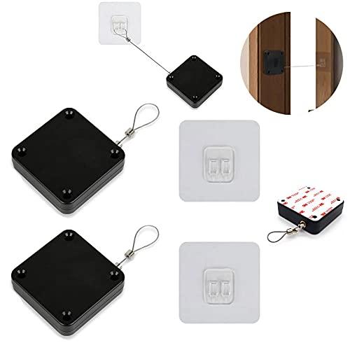 2 Piezas Cierrapuertas AutomáTico con Sensor,El Cierrapuertas sin Perforaciones es Adecuado para el Dormitorio de la Oficina en casa, Cierra Automáticamente todas las Puertas con Cordón