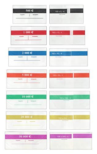 Banderolen Set für Euro Geldscheine je 20x (5 €, 10 €, 20 €, 50 €, 100 € Banderole) + 5x (200 € & 500 € Banderole) Geldbanderole Papier für Geldbündel Fassungsvermögen je 100 Scheine