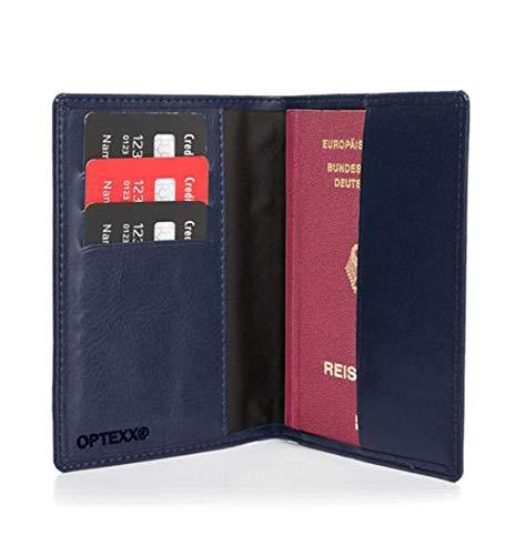 OPTEXX Premium RFID - Custodia per passaporto, Mika Marine, con protezione RFID, certificato TÜV e zerificato, in pelle, da viaggio