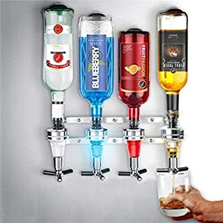 Liquor Dispenser - 4 Bottle Bar Beverage Liquor Dispenser Alcohol Drink Shot Cabinet Wall Mounted With 6 Screws - Bags Wall Daniels Backpack Mount Cabinet Carousel Handle Push Strawberries S