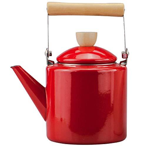 珐 Esmalte Kettle Cool Ol Milk Tetera Tetera Café Café Caldera Frío Cocina de Inducción Gas de Gas Universal-3.5l_Rojo 2.4 litros de olla alta cocina eléctrica estufa de gas