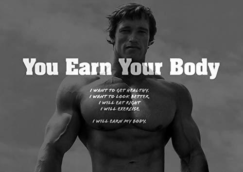 """Motivations-Postermit Zitat von Arnold Schwarzenegger (nicht in deutscher Sprache) """"Earn your Body"""", A3-PostermitZitat, Kunstdruck zur Motivation für Sport, Boxen, Radfahren, Leichtathletik, Bodybuilding, Triathlon, Basketball, Fußball, Rugby, Schwimmen, Boxen, Martial Arts, Golf, Hockey, Squash"""