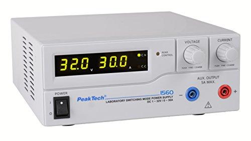 PeakTech 1560 – Labornetzgerät DC 1-32V / 0-30A mit 3-stelliger LED-Anzeige, DC-Schaltnetzteile, Stromversorgung, 3 Voreinstellungen für Strom- & Spannungswerte, Überlastungsschutz - 200 ~ 240 V AC