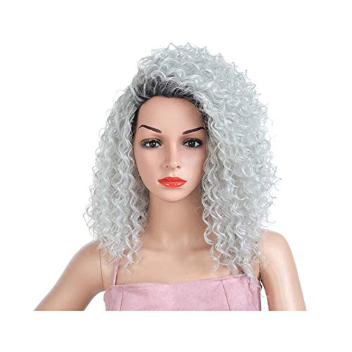 WXFF Peluca 23 Pulgadas de Moda Peluca Gris Cabello Mezclado Color Negro Pelucas sintéticas para Las Mujeres de Fibra Resistente al Calor de la Longitud del Medio Peluca Sintética