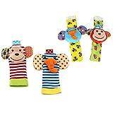 SASKATE Bonito juego de calcetines suaves con diseño de animales para bebé, sonajero y calcetines, desarrollo de animales suaves como regalo