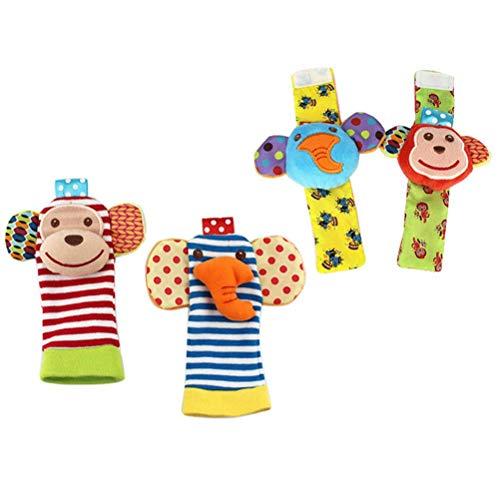 Sonajeros para bebés, muñecas y calcetines, juguetes de peluche, juguetes de desarrollo para recién nacidos, niñas y niños, regalo para bebés multicolor, adecuado para bebés menores de 0 a 3 años