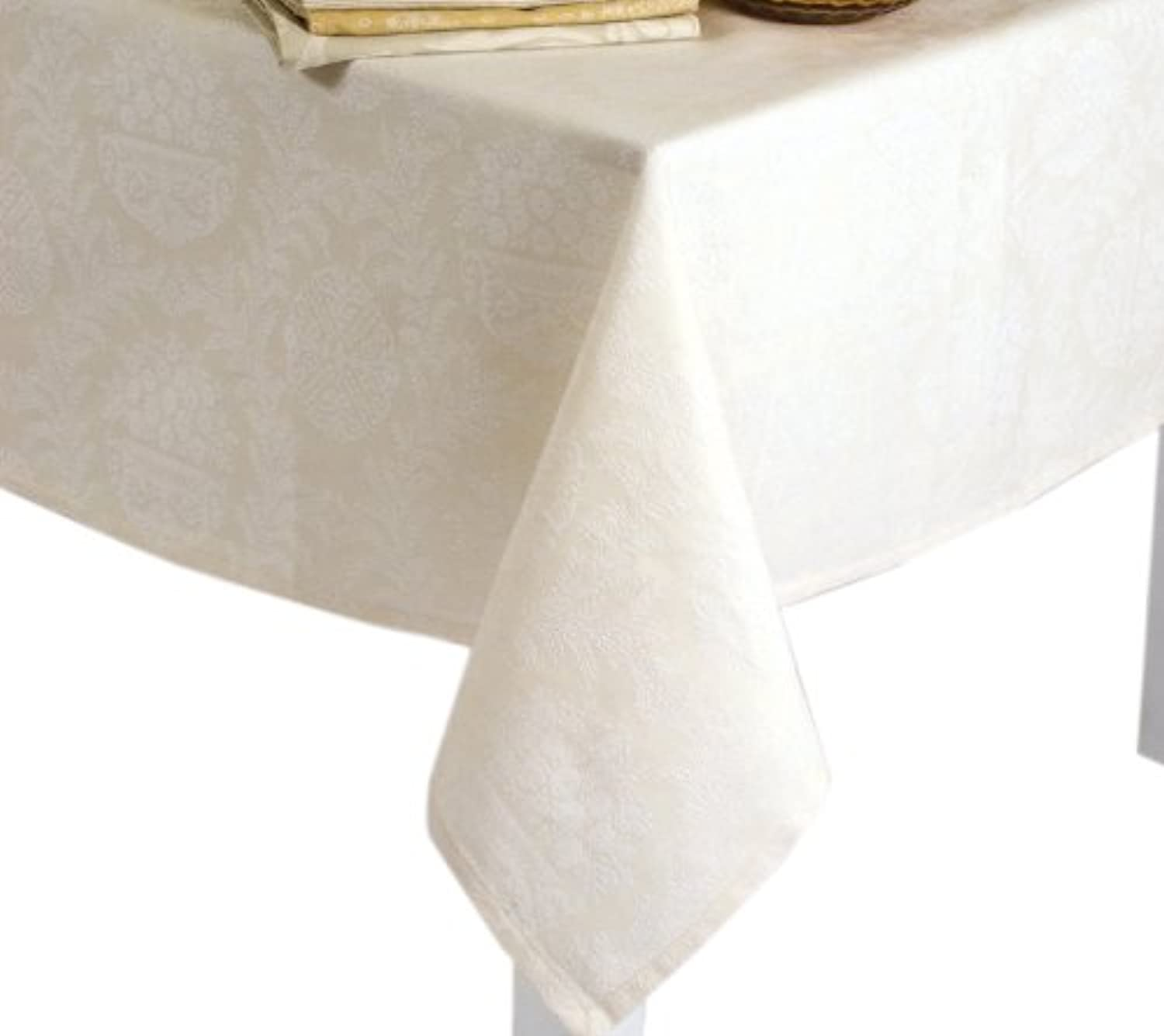 Mahogany  Victoria Ivory Jacquard-Weave Tablecloth, 60-inch by 120-inch Rectangle, 100% Cotton