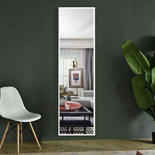 "KIAYACI Full Length Mirror Decor Wall Mounted Mirror Floor Mirror Dressing Mirror Make Up Mirror Bathroom/Bedroom/Living Room/Dining Room/Entry (White, 55"" x 16"")"
