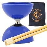 Juego de diábolo con cojinete de carrusel – Niños, Diablo de cojinete rápido con palos de madera, cuerda Pro y bolsa de malabarismo en cascada (azul)