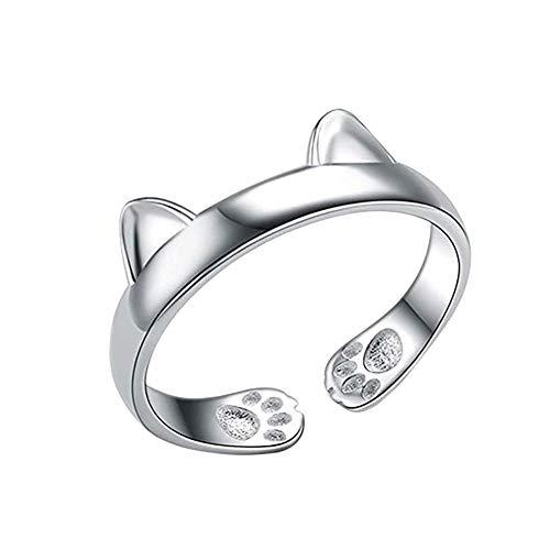 Demarkt Katze Form offener Ring Damen verstellbar für Frauen (Silber)