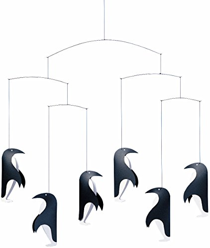 Penguin in Tails Hanging Nursery Mobile - 18 Inches Plastic - Handmade in Denmark by Flensted