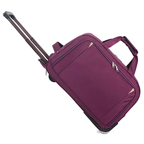 YLLHK Travel Bag Wheeled Holdall, Large Capacity Trolley Business Bag, Ultra-Lightweight and Foldable for Storage, Suitable for Outdoor Sports, University, Laptop,Purple,S