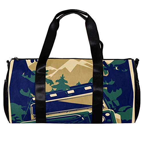 TIZORAX Duffel Bag for Women Men Pop Jeep Poster Sports Gym Tote Bag Weekend Overnight Travel Bag Outdoor Luggage Handbag
