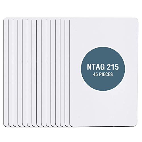 45 PCS NTAG215 NFC Cards (Blank Amiibo NFC Cards) - DEEDYGO Programmable PVC Blank NFC 215 Cards Compatible with All NFC-Enabled Phone