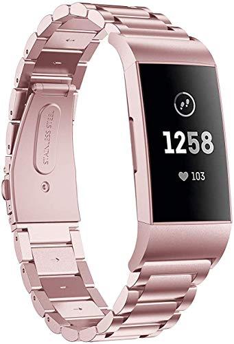 Aimtel Armband Kompatibel mit Fitbit Charge 3 Armband/Fitbit Charge 4 Armband, Edelstahl Metall Ersatzarmband Uhrenarmbänder Kompatibel mit Fitbit Charge 3/Charge 3 SE/Charge 4/Charge 4 SE(Rosa)