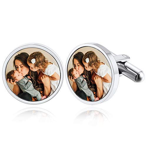 Personalised Cufflinks for Men Wedding Gifts Stainless Steel Round Custom...