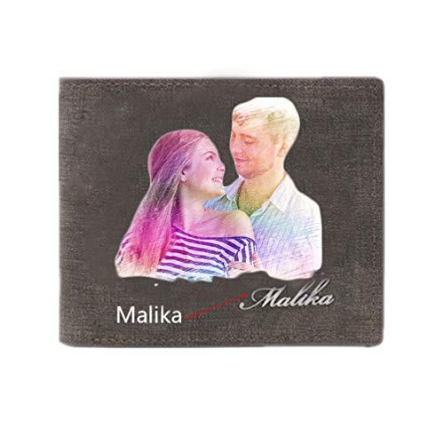 Personalisierbare Geldbörse für Herren, mit Fotodruck, für den Freund, Ehemann, Geschenk zum Valentinstag, Grau grau Double-Sided