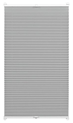 Gardinia Plissee zum Klemmen, Blickdichtes Faltrollo, Alle Montage-Teile inklusive, EASYFIX Plissee Cara verspannt mit zwei Bedienschienen, Grau, 50 x 130 cm (BxH)