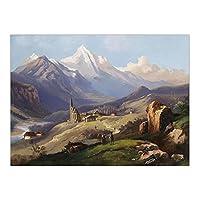 JLFDHR 装飾プリントキャンバス壁アート絵画水平の山と湖そびえ立つ木-60X80Cmx1フレームなし