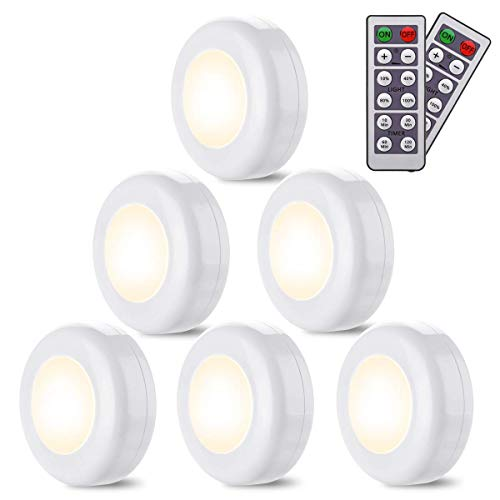 Puck Lights with Remote Elfeland 6 Pack Wireless LED Closet Lights Under Cabinet Lighting Battery Operated Under Counter Lighting Dimmable Night Lights Stick On Light(Warm White)