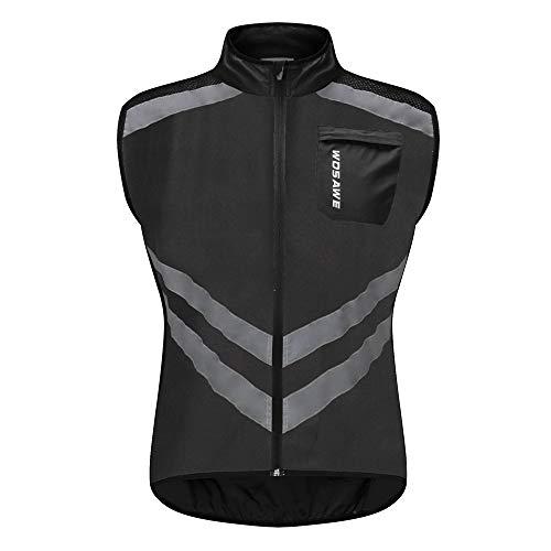 WOSAWE Radweste Atmungsaktive Reflektierende Gilet Männer Frauen Winddicht Ärmellose Jacke für Motorrad, Reiten und Joggen (BL208 Schwarz XL)