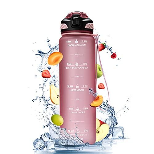 JIKKO Trinkflasche 1L Sportflasche Tritan Flasche BPA-frei Wasserflasche mit Silikonstrohhalm Auslaufsicher Eco kohlensäure Sportflasche für Kinder Schule Gym Fitness Fahrrad Outdoor