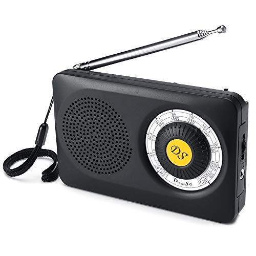 DreamSky AM FM Portable Radio with Loudspeaker Battery Operated Radio with Headphone Jack, Transistor Radio Superior Reception Pocket Radios for Emergency, Camping Senior Small Gift