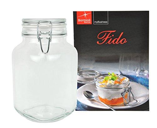 Einmachglas Bügelverschluss Original Fido 3,0L incl. Bormioli Rezeptheft