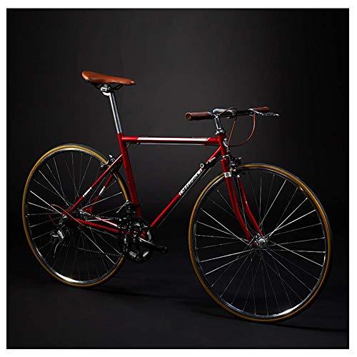 Adult Rennrad, 14 Geschwindigkeit Retro High-Carbon Stahlrahmen-Straßen-Fahrrad, Ultra-Light-Fahrrad mit Doppel-V Brake, ideal for die Straße oder Schmutz Trail Touring, Weiß, gerader Griff lalay