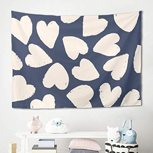 N\A Love Hearts - Tapiz Azul para Colgar en la Pared, Ropa de Cama, Tapiz, Mantas, Alfombrilla de Picnic, Mantel, sofá, Fondo para Sala de Estar, Dormitorio, Colegio, Dormitorio, decoración, Blanco