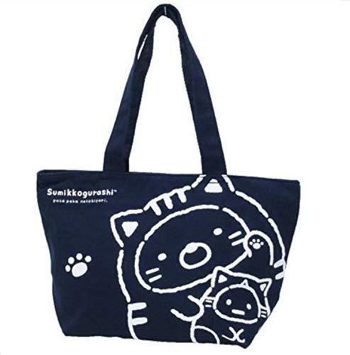 BLY Bolsa de lona, Bolso para niñas, San-X Sumikko Gurashi Disfraz de gato Azul marino, Importación de Japón