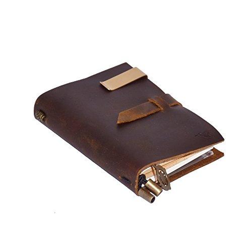 Cuaderno de cuero rellenable de Nomalite | Diario de notas A6 rectangular de tapa cuero marrón vintage para escribir y dibujar. Ideal como funda de viaje (incl. 3 papeles para rellenar). (13x10cm)