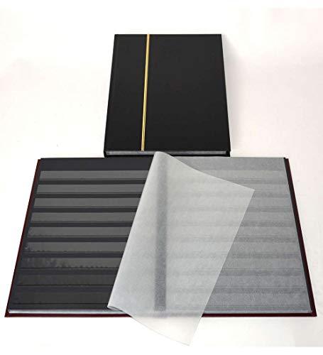 Goldhahn 32 Schwarze Seiten A4 Briefmarkenalbum, Einsteckbuch, schwarz, mit Klarsichtstreifen Briefmarken für Sammler