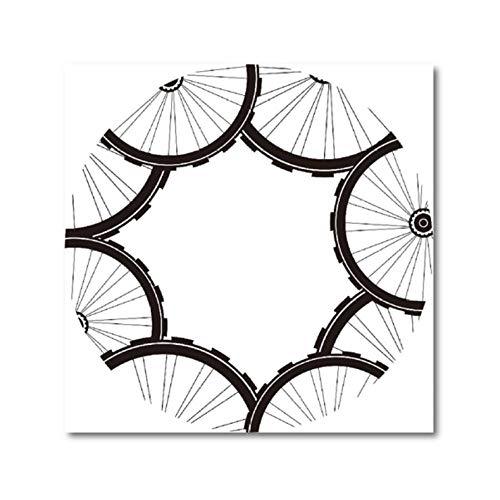 Racefiets fietsen patroon poster en druk mountainbike banden patroon kunst canvas schilderij afbeelding modern huis muurkunst decor 50x50cmx1 niet ingelijst