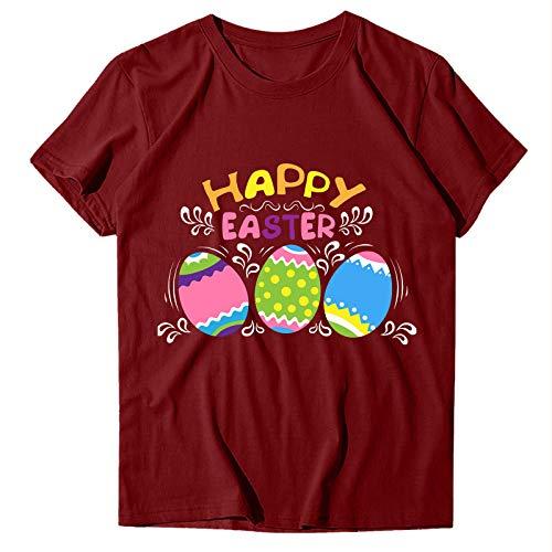 FantaisieZ Camiseta para mujer de Pascua, multicolor, con estampado de huevos de...