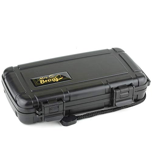 Mrs. Brog Waterproof Travel Cigar Humidor Case - Black - Holds up to 5 Cigars