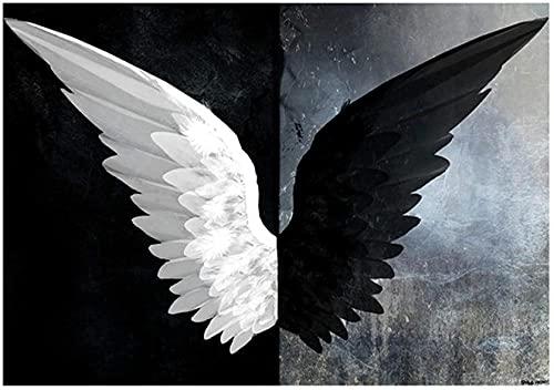 Asas de anjo em preto e branco Pintura abstrata de pôsteres e gravuras Arte da parede Imagens para sala de estar Decoração do quarto 40X60cm Sem moldura
