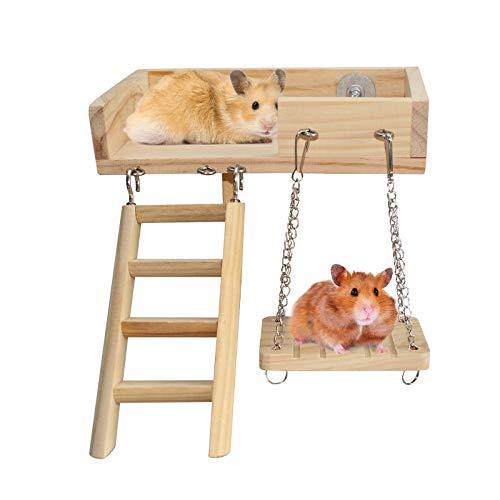 Hámster Chew Toys 3Pcs Set, Madera Natural Mascota pequeña Juguetes para Gerbil Hedgehog Rat Conejillo de Indias Chinchilla Bird Parrots Rabbits Bunny (Terraza + Escalera + Columpio)