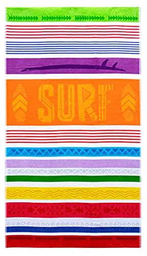 Lashuma Toalla de playa surf 100 x 180 cm, toalla de terciopelo multicolor, toalla de baño a rayas
