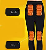 LanXi Herren Beheizte Unterwäsche, USB Lade Elektrische Beheizte Körperwärmer Daunenweste, Wiederaufladbare Thermische Kapuzenweste mit 3 Heizstufen (Schwarz (Tops+Pants), 2XL) - 6