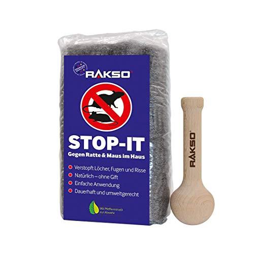RAKSO Stop-IT, 17 Stahlwolle-Rollen zum Mäuse vertreiben, 1 Stopfstab, dauerhafte Mäuseabwehr ohne Gift