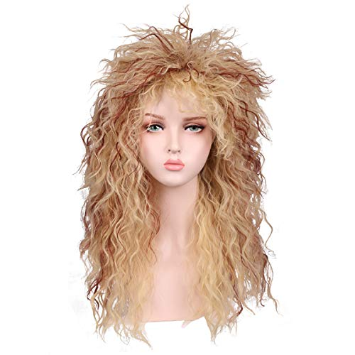 Fantalook Women Long Curly 80s Blonde with Reddish Brown Cosplay Wig