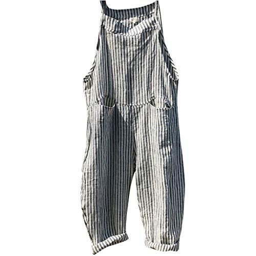 FRAUIT Jumpsuit Damen Retro Streifen Latzhosen Taschen Verband Ärmellos Overall Bodysuit Spielanzug Lässig Lange Harem Playsuit Hose Trousers Overalls