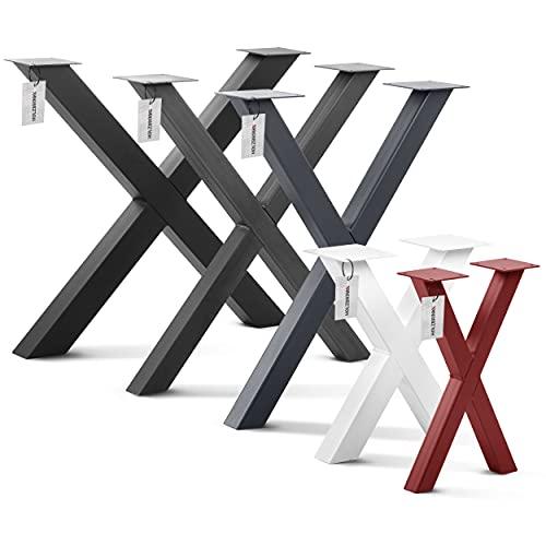 HOLZBRINK Tischkufen X-Form aus Vierkantprofilen 80x80 mm, x-förmiges Tischgestell 80x72 cm, Anthrazitgrau, HLT-03-J-FF-7016