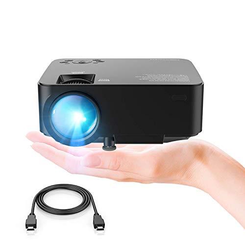 DBPOWER Mini proyector, 2200 Lumen Proyector LED de Video HD 1080P con Pantalla de 176', Vida útil de 50,000 Horas, proyector para Cine en casa (Black)