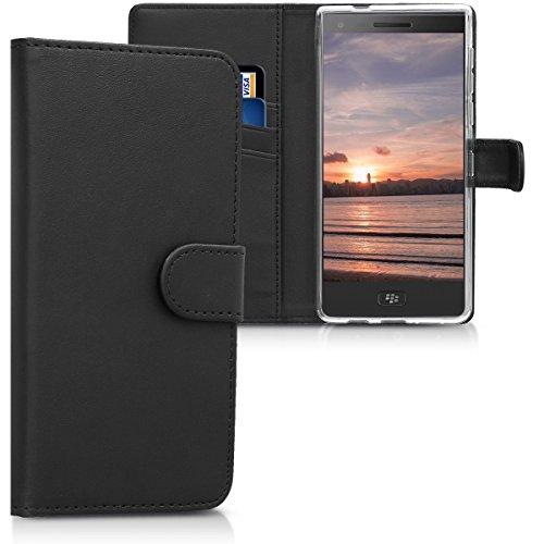 kwmobile Hülle kompatibel mit BlackBerry Motion - Kunstleder Wallet Case mit Kartenfächern Stand in Schwarz