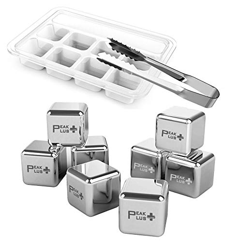 PeakPlus Reusable Ice Cubes [Pack of 8 & Tongs] - Stainless Steel Whiskey Stones, Chilling Rocks with Barman Tongs Best For Whiskey, Wine, Beer, Beverage and All Drinks
